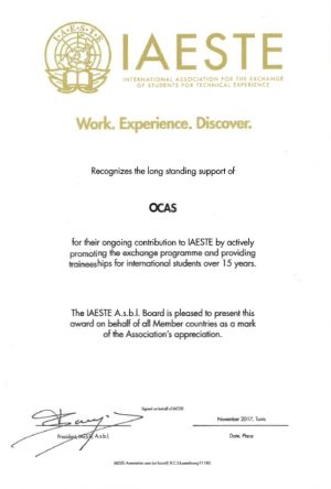 OCAS receives Employer Award at IAESTE Annual Conference